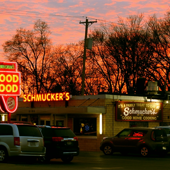 """There's always Room for Pie"" Sunset. Schmuckers Diner. Toledo,OH. December 20, 2017.Brian Purdue https://wp.me/p638a9-4s"