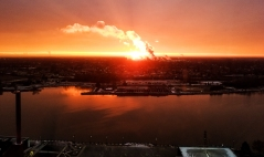 """""""The Cloud Factory"""" The sunrise showing through one of the many cloud factories that we have in the city. Toledo, OH. December 11, 2017."""